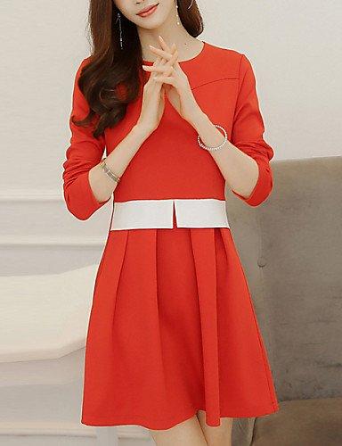PU&PU Robe Aux femmes Trapèze Vintage,Couleur Pleine Col Arrondi Au dessus du genou Polyester / Spandex , red-s , red-s