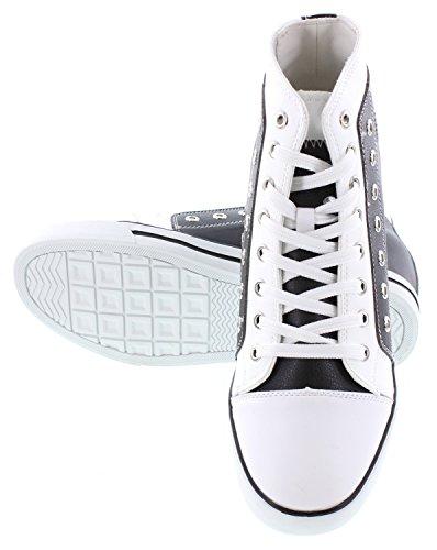 Calden K882895-3.8 Inches Højere - Højde Stigende Elevator Sko - Sort / Hvid Læder Mode Sneakers CaK253vT
