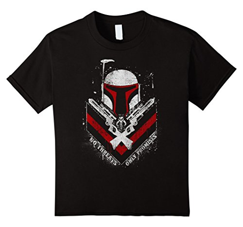 Kids Star Wars Boba Fett No Threats Only Promises Graphic T-Shirt 4 Black