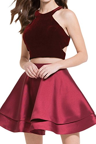 SeasonMall Two-Piece Scoop Open Back A Line Satin and Velvet Cocktail Homecoming Dresses Burgundy Size 12