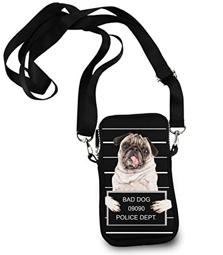 (Premium Nylon Iphone Bad Dog Police Dept Handbag Passport, Credit Card Clutch Bag with Zipper and Adjustable Shoulder)