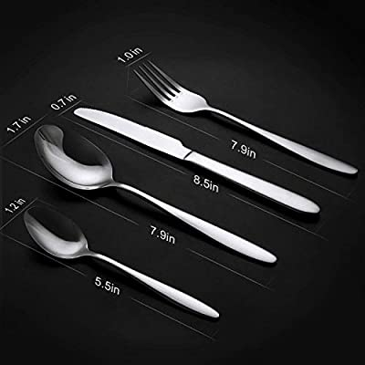 SUNPOLLO Flatware Set, Silverware Set Service for 4, Stainless Steel Cutlery Set for Kitchen Hotel Restaurant Wedding Party, Mirror Polished, Dishwasher Safe, Include Knife/Fork/Spoon