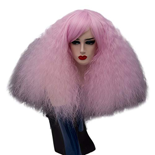 ELIM Short Fluffy Curly Wigs Pink Cosplay Wigs Wavy Halloween Costume Wig Synthetic Hair Oblique Bangs for Women with Wig Cap Z079O for $<!--$16.99-->