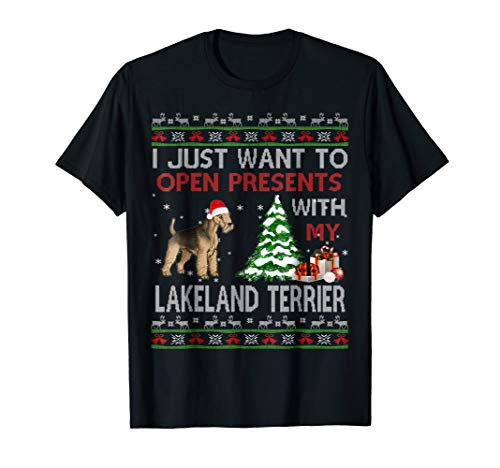 Open Presents With My Lakeland Terrier Christmas Shirt