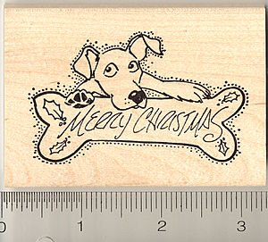 Merry Christmas Dog Rubber Stamp - Wood - Wood Stamp Dog Rubber