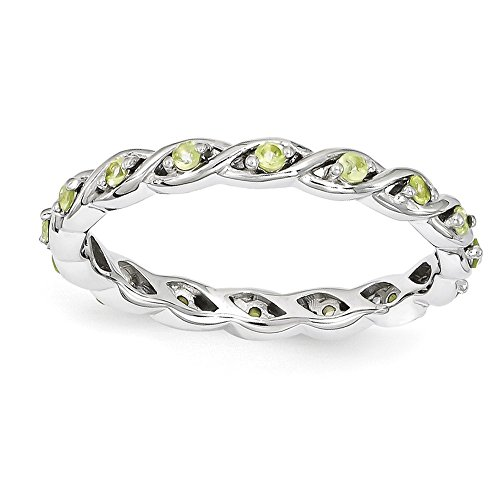2.5mm Rhodium Plated Sterling Silver Stackable Peridot Twist Band Sz 7