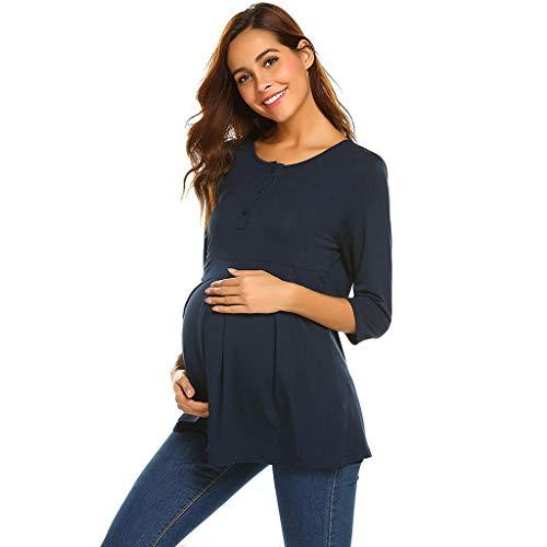b6aaa80ba8237 Women's Maternity Nursing Tunic Long Sleeve Button-up Tops Breastfeeding  Tee T-Shirt Blouse