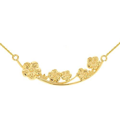 Branch Flower Plum (Women's 14k Yellow Gold Plum Blossoms Necklace Flower Branch, 16