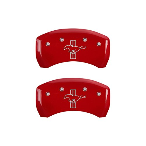 MGP Caliper Covers 10010RMB2RD Red Brake Covers Engraved with Silver Mustang/Bar & Pony (2015) (Set of 2 ) ()