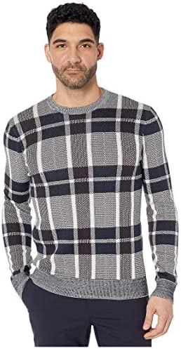 Perry Ellis Men`s Plaid Texture Crew Sweater