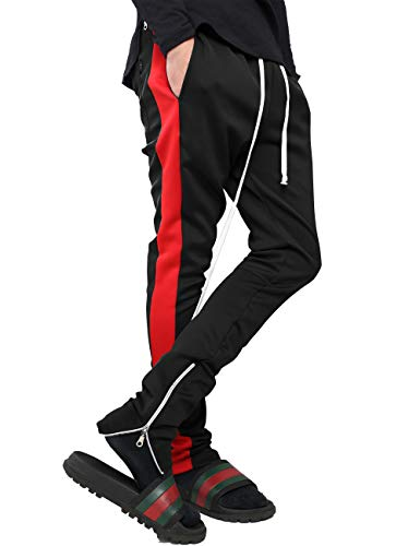 Mens Stripe Track Pants Skinny Fit Stretch Trouser Elastic Jogger 1VWA0006 (Medium, p122_Blk/Red) ()