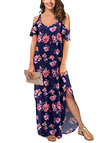 (GRECERELLE Women's Summer Strapless Strap Cold Shoulder Casual Loose Dress Cover Up Long Cami Split Floral Print Maxi Dresses with Pocket Pink Navy-XL)