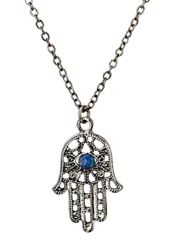 Hamsa Necklace with Handmade Czech Glass Simulated Opal | SPUNKYsoul Collection