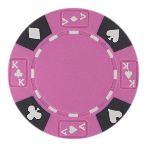 Brybelly Holdings CPAK-PINK-25 Roll of 25 - Pink - Ace King Suited 14 Gram Poker Chips (Suited Poker 14g Clay Chip)