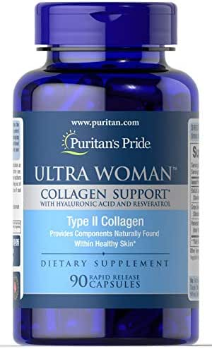 Puritan's Pride Ultra Woman Collagen Support 1000mg with Hyaluronic Acid-90 Rapid Release Capsules