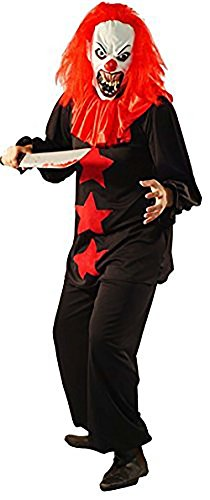Halloween-Horror-Evil BLACK & RED TERROR CLOWN Fancy Dress Costume includes Latex Horror Mask - From Teen Size to XXXXL (LARGE)
