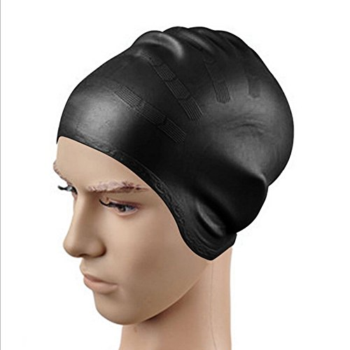 Dianoo Large Earmuffs Swim Cap for Long, Thick, or Curly Hair by Swim On - Waterproof Silicone, Slip - On, Comfort - Fit Design - High Quality Swim Cap For Longer Hair & High - Volume Hair Styles - A Nice Addition To Your Swimming Equipment Accessories - Unisex (Black)
