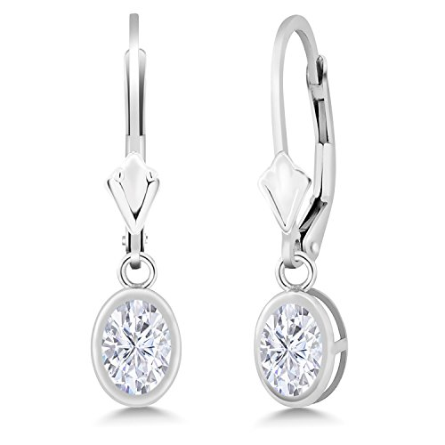 (925 Sterling Silver Dangle Earrings Forever Brilliant (GHI) Oval 1.80ct (DEW) Created Moissanite by Charles & Colvard)