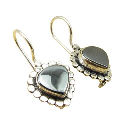 - Genuine HEMATITE Gemstone, 925 Sterling Silver Plated Vintage Style Earrings 1.2