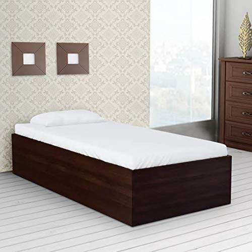 HomeTown Ria Engineered Wood Box Storage Single Bed in Walnut Colour