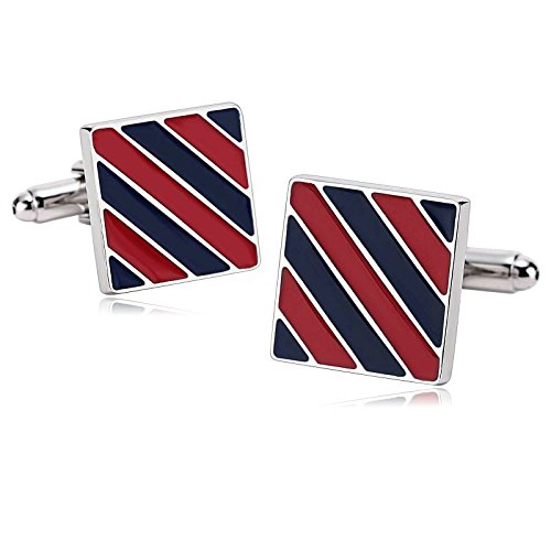 New Twin Set Cufflinks (Epinki Stainless Steel Cufflinks for Mens Enamel Square Twill Stripe Blue Red for Business Wedding Gift)