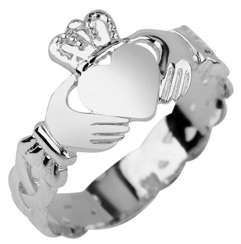 Ladies 10K White Gold Claddagh Ring with Trinity Band (5) by Claddagh Rings
