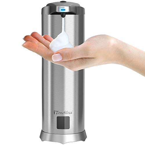 (iTouchless Ultraclean Automatic Sensor Foam Soap Dispenser, Rust-Free Stainless Steel with 28 Fl. Oz. Sea Mineral Scent Foaming Hand Wash Refill, Touchless Pump for Bathroom & Kitchen)