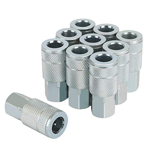 WYNNsky 3/8-Inch FNPT T Style Zinc-Plated Steel Air Coupler, 10 Pieces Quick-Connect Kit, Industrial Push to Connect Air Fittings