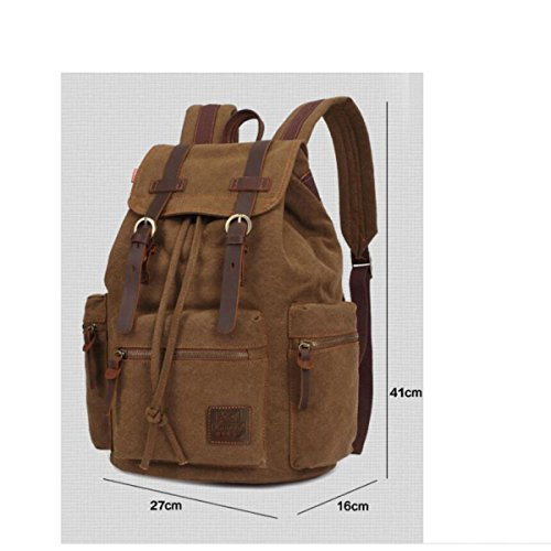 16 Bag Outdoor Casual Backpack Travel Men's College Hiking Shoulder Canvas Khaki Personalized Inch wAOvqFnW