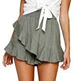 TWGONE Ruffle Skirt for Women Shorts Solid Ruched Elastic Waist Pants Skirt(X-Large,Green)