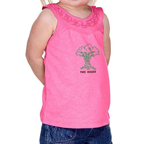 Cute Rascals Tree Hugger Style 2 Infants Jersey V Neck Ruffle Yoke Tank Hot Pink 24 (Tree Hugger Tank)