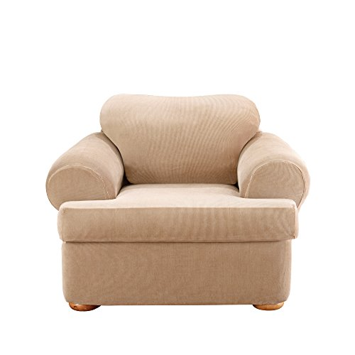(Sure Fit Stretch Stripe 2-Piece - Chair Slipcover  - Sand (SF37727))