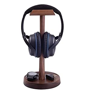 Artinova Wooden Headset Holder Headphone Stand Hanger with a Cable Holder Walnut Color ARTA-0053