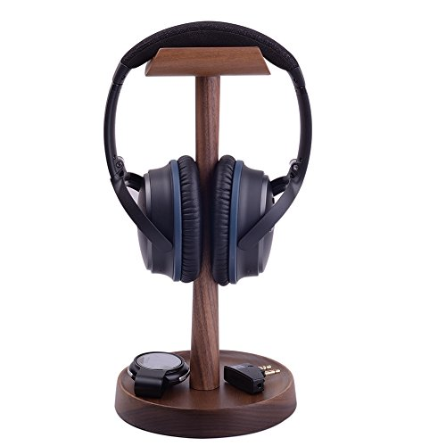 - Artinova Wooden Headset Holder Headphone Stand Hanger with a Cable Holder Walnut Color ARTA-0053