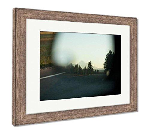 (Ashley Framed Prints Mount Hood Seen in Car Mirror, Wall Art Home Decoration, Color, 26x30 (Frame Size), Rustic Barn Wood Frame, AG6509956)
