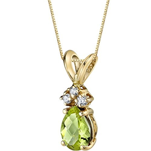 14 Karat Yellow Gold Pear Shape 0.75 Carats Peridot Diamond Pendant