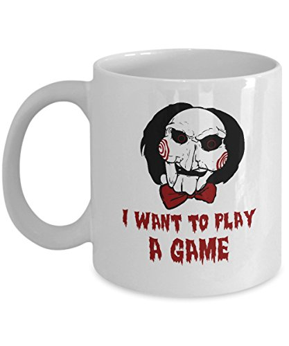 Saw L'enigmista Mug I want to play a game funny horror movie quotes coffee mugs cup Best Birthday Halloween Gifts for men women boy girl mom dad -