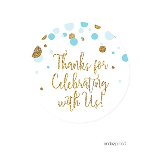 Round Baby Shower Labels (Andaz Press Light Blue Gold Glitter Boy Baby Shower Party Collection, Round Circle Label Stickers, Thank You for Celebrating With Us, 40-Pack)
