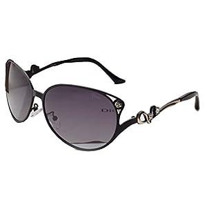 Sinkfish SG80017 Sunglasses for Women,Anti-UV & Retro Oval - UV400/Black Frames/Darkgray Lens