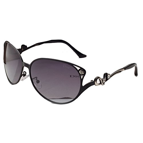 Sinkfish SG80017 Sunglasses for Women,Anti-UV & Retro Oval - UV400/Black Frames/Darkgray - Price Armani Sunglasses