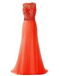 Tideclothes Long Beading Prom Dress Exquisite Chiffon Evening Dress
