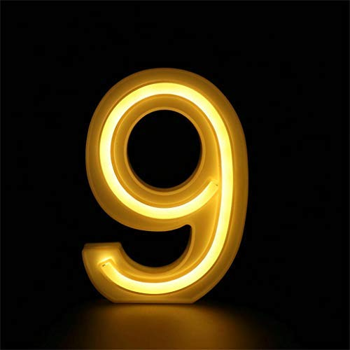 Maikouhai 40LED Alphabet Letter Numbers Lights LED Night Light Up White Plastic Numbers Standing Hanging 0-9 with 1 Remote Control, Indoor, Home, Shopwindow, Club, Party, Holiday Wedding Decor (9)