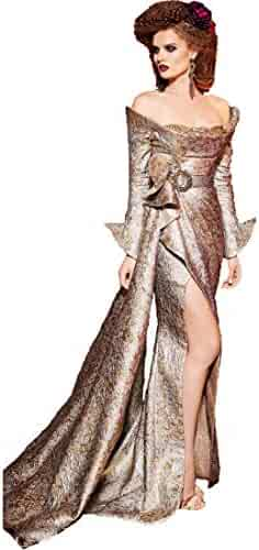 bf135dbf Fouad Sarkis for MNM Couture Women's Long Sleeve Off The Shoulder Evening  Gown
