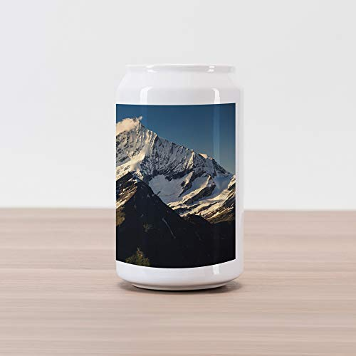 (Ambesonne Mountain Cola Can Shape Piggy Bank, Snowy Mountain Summit Clouds in The Sky Tranquility in Wild Nature Theme, Ceramic Cola Shaped Coin Box Money Bank for Cash Saving, White Black Blue)
