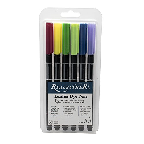 (Realeather F2400-03 Dual Tip Leather Dye Pens, 6-Pack, Landscape, Colors)