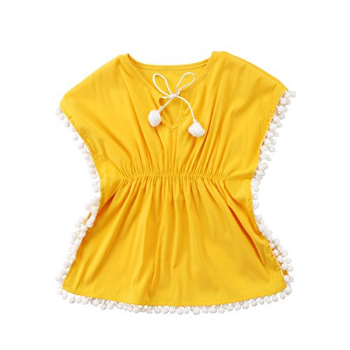 Kids Beach Cover (Baby Girl Floral Pompom Tassel Dress Sun Protection Dress Swim Cover-UPS Playwear Dress Clothes (Yellow, 120(4-5T)))