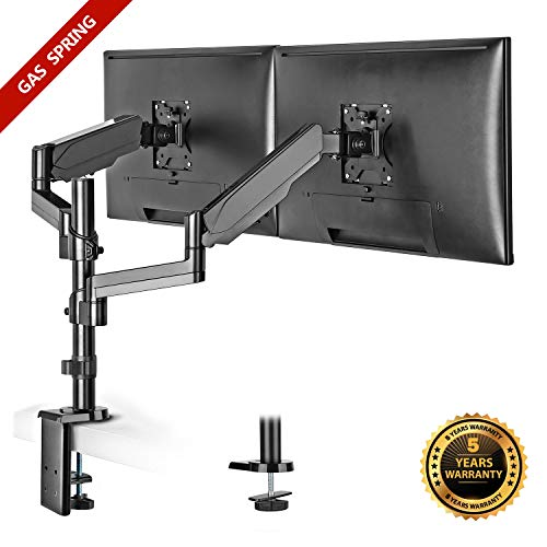 IMtKotW Dual Arm Monitor Desk Mount Stand,Height Adjustable Full Motion Gas Spring Monitor Mount Riser with C Clamp/Grommet Base Fits Two 17'-32' LCD LED Computer Screens up to 17.6lbs per