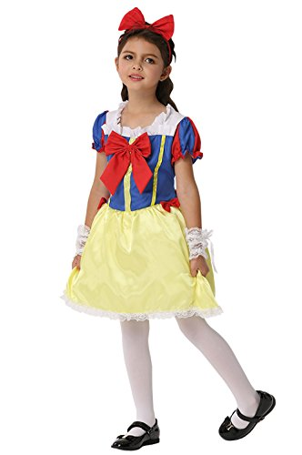 Storybook Snow White Costumes (WHOLEWO Girls Halloween Costume Snow White Performance Dress Storybook Princess Cosplay (ek196-X-Large, Princess))