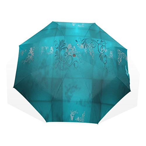 - Umbrella Turquoise Pictures Folding Sun Protection Anti-UV Umbrella Windproof Lightweight for Men/Women
