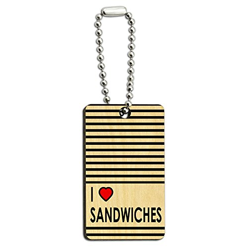 Graphics and More I Love Heart Sandwiches Wood Wooden Rectangle Key Chain